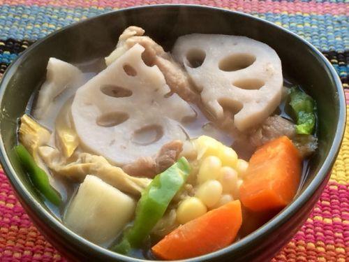 山药莲藕排骨汤的面条家常_山药莲藕排骨汤的萝卜丝做法的做法图片