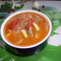 番茄蒜头猪肝汤