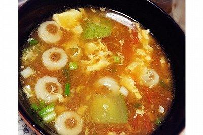 鸡蛋黄瓜西红柿鱼丸汤