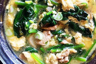 菠菜鸡蛋肉片汤