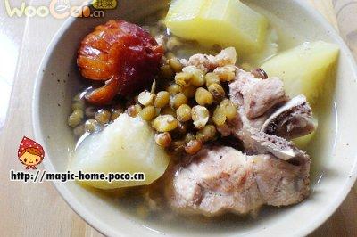 节瓜绿豆猪脊骨汤