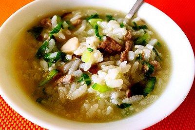 猪肝香菇青菜粥