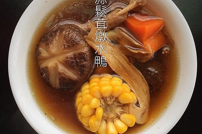 黑蒜松茸炖水鸭