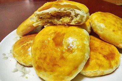 绿豆沙肉松饼